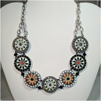 Product thumbnail: Black/Gray/White with Crystals and Beads