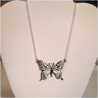 Product thumbnail: White Single Butterfly Necklace