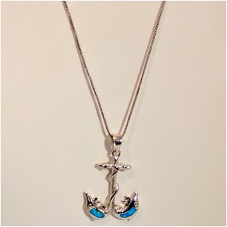Product thumbnail: Anchor With Opal Dolphins