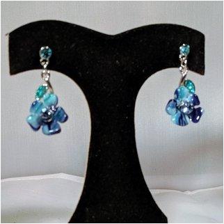 Product thumbnail: Blue Crystal Flower Earrings
