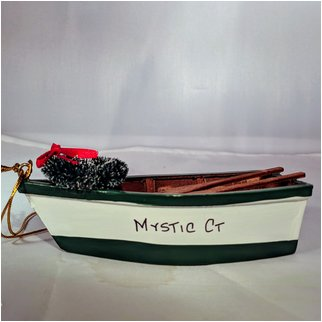 Product thumbnail: Green and White Boat with Wreath