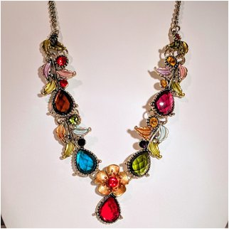 Product thumbnail: Multi Color Crystal Necklace With Flower
