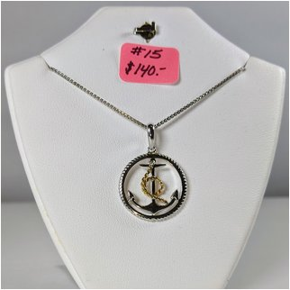 Product thumbnail: #15 Anchor Necklace Sterling with Solid Gold
