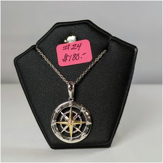 Product thumbnail: #24 Compass Rose in Solid Gold with Sterling