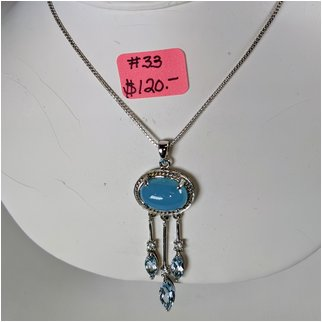 Product thumbnail: #33 Chalcedony and Blue Topaz Necklace