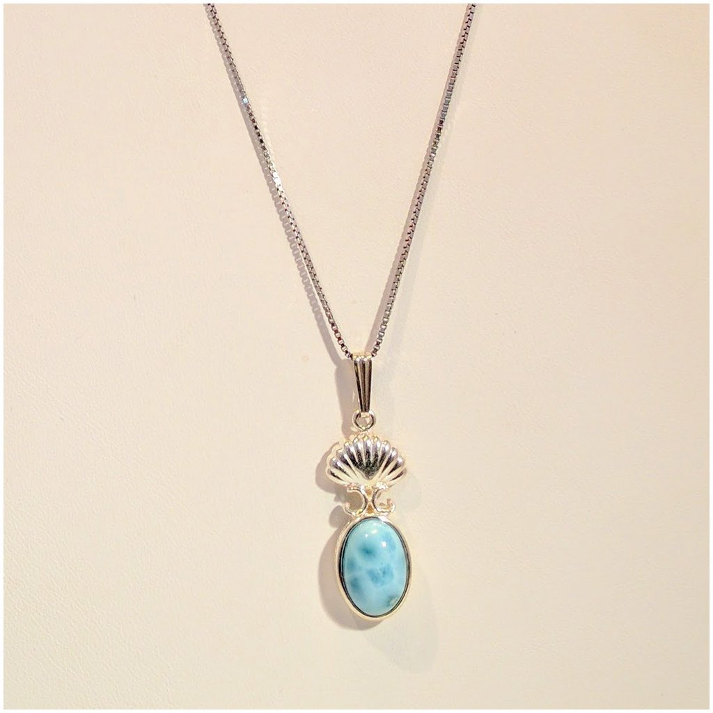 Larimar pendant with sterling shell silver papillon larimar pendant with sterling shell aloadofball Image collections