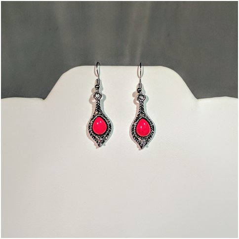 Red Stone Drop Earings