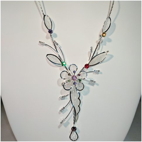 Flower Drop Necklace in Silver Tone.