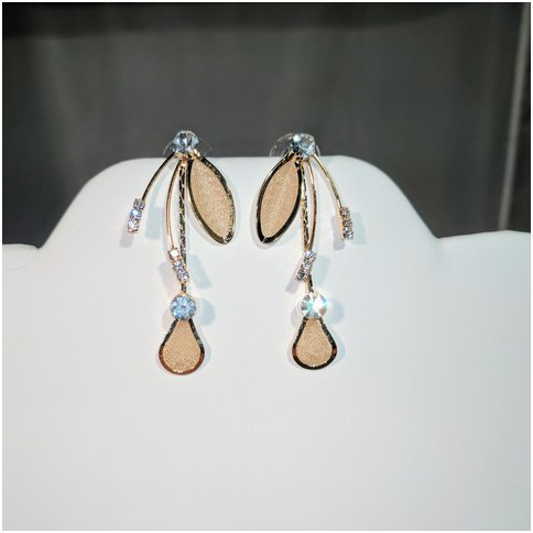 Flower Drop Earrings in Gold Tone