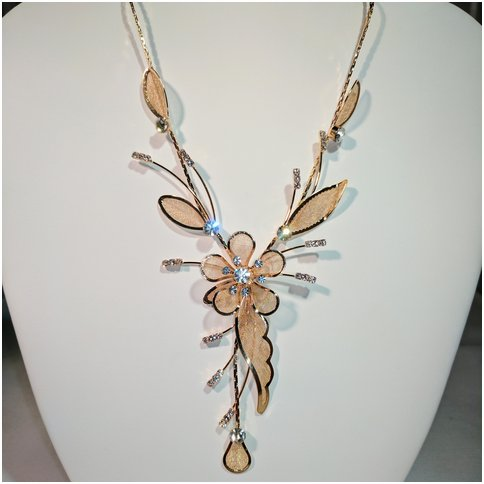 Flower Drop Necklace in Gold Tone