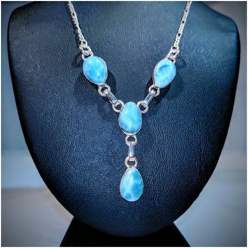 Blue Larimar Multi-Stone Drop Neckless