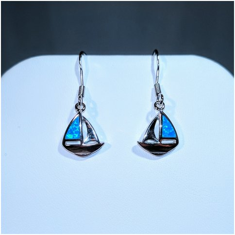 Sailboat Earrings with Opal