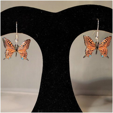 Orange Butterfly Drop Earrings
