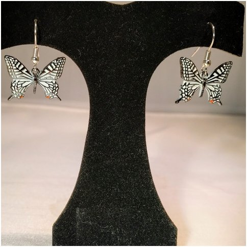 White Drop Butterfly Earrings