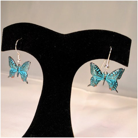 Blue Drop Butterfly Earrings