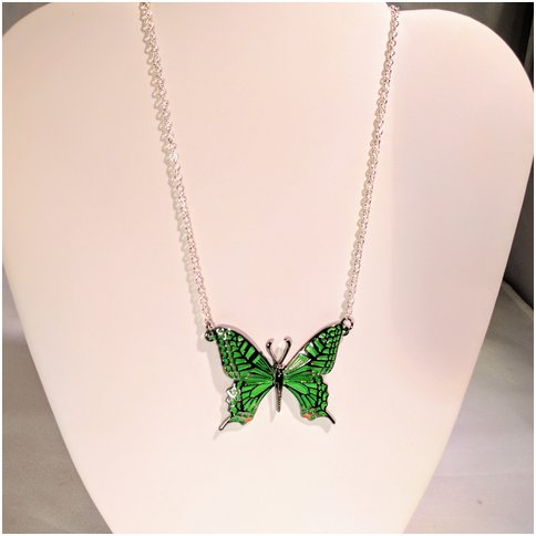 Green Single Butterfly Necklace