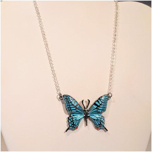 Blue Single Butterfly Necklace