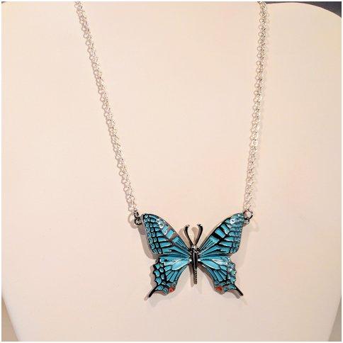Blue Single Butterfly Necklace