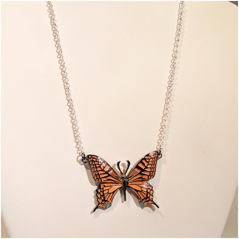 Orange Single Butterfly Necklace
