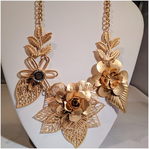 Gold Flower Necklace With Leaves