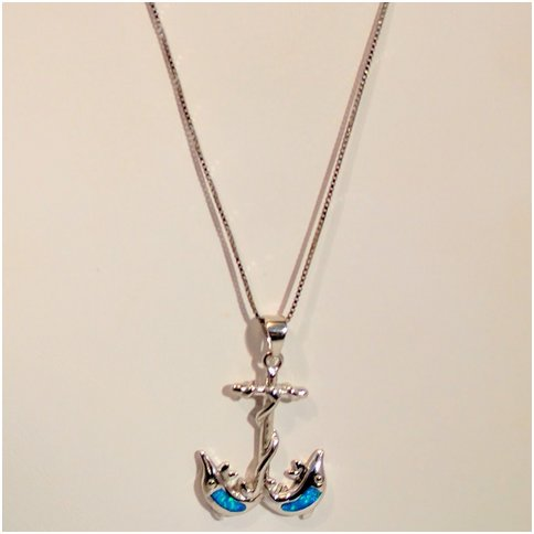 Anchor With Opal Dolphins