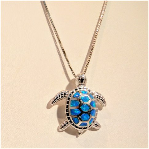 Turtle With Opal Necklace