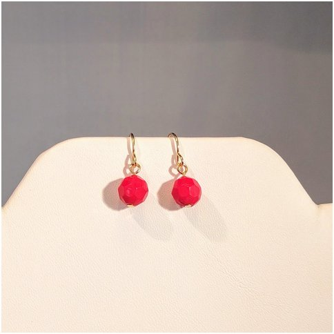 Red Small Drop Earrings