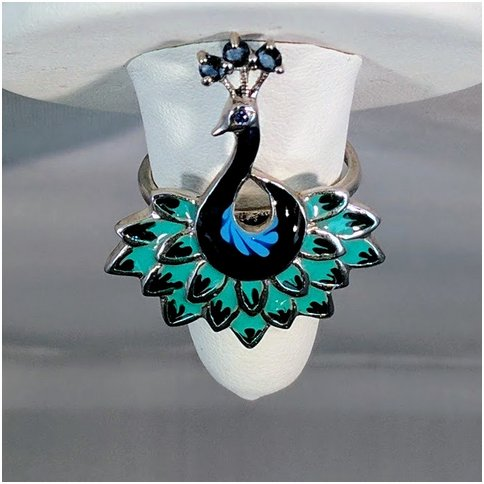 Peacock Ring with Three Blue Topaz