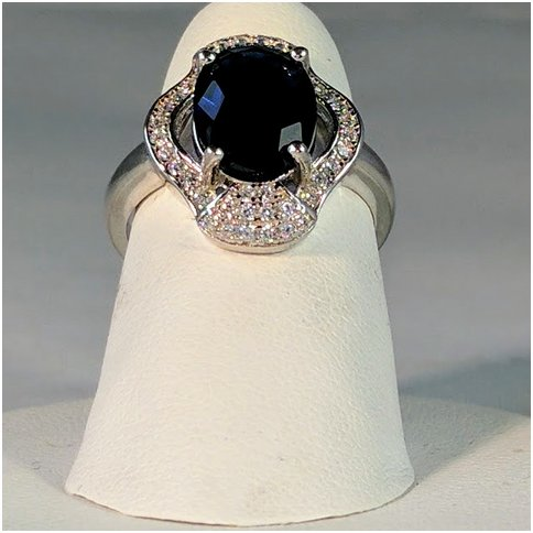 Blue Crystal Ring with Cubic Zirconia