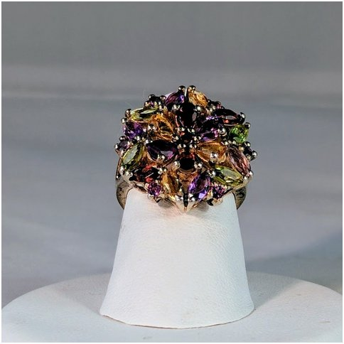 Multicolor Cluster Gem Ring