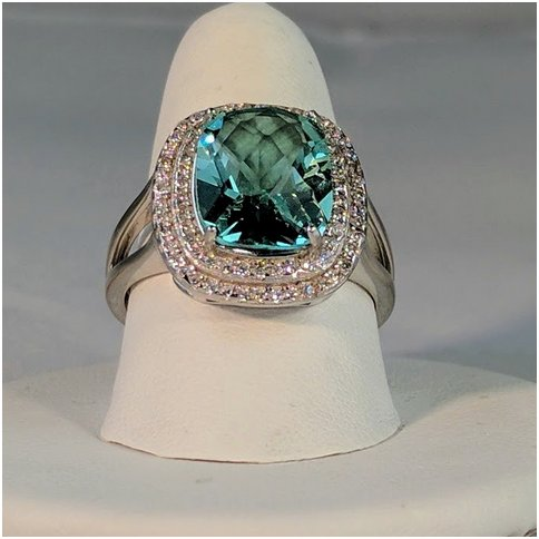 Teal Crystal Stone Surrounded by Cubic Zirconia