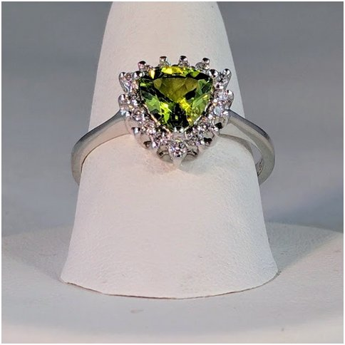 Peridot Trillion Shape With CZ