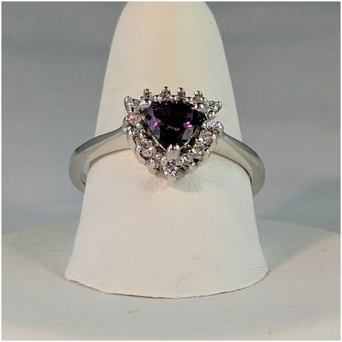 Amethyst Trillon Shape with CZ