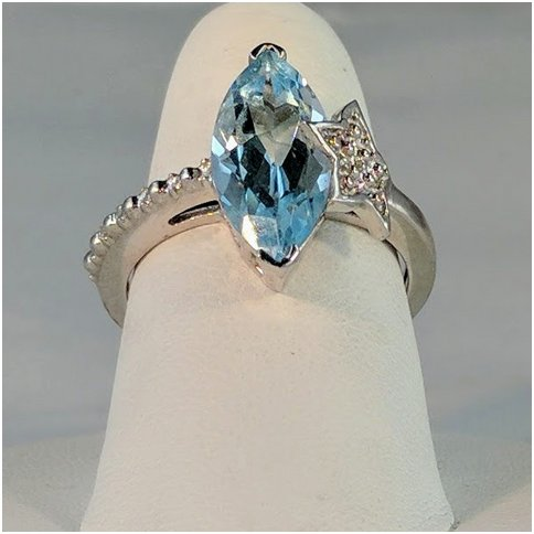 Blue Topaz Marquise with Star