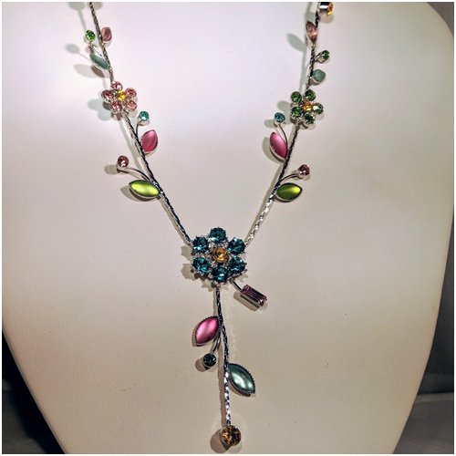 Flower Drop Necklace in Pastels