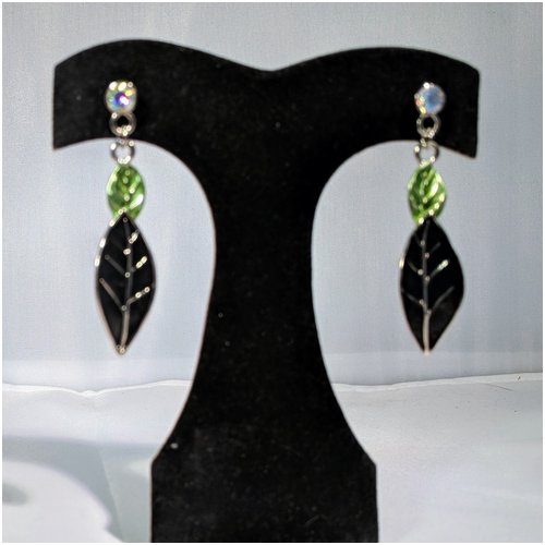 Black Leaf Earring with Rhinestone Accents