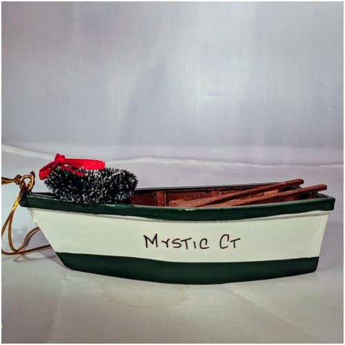 Green and White Boat with Wreath