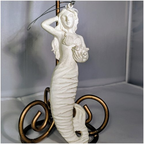 Mermaid Ornament White with Flowers
