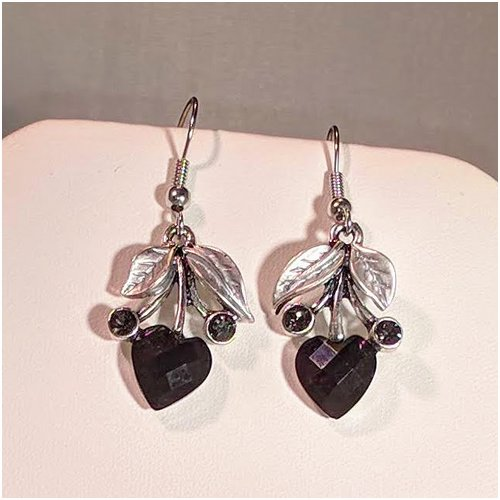 Heart Drop Earrings in Black