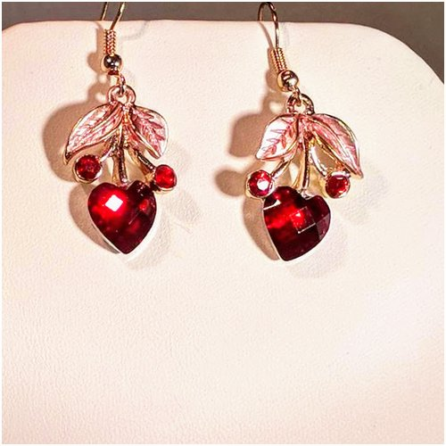 Heart Drop Earrings In Red