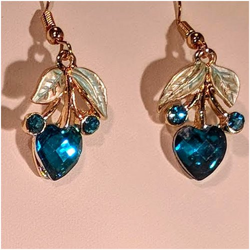 Heart Drop Earrings in Blue