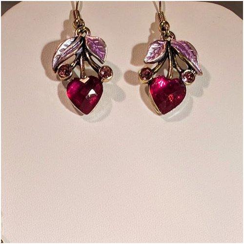 Heart Drop Earrings in Pink