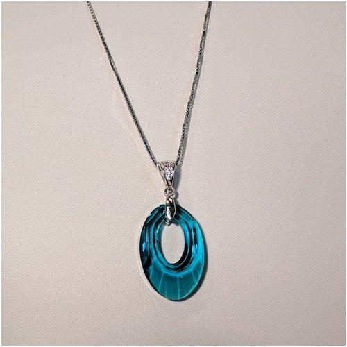 Light Blue Swarovski Crystal Necklace