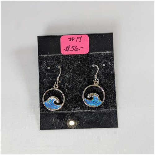 #17 Opal Wave Earrings Sterling