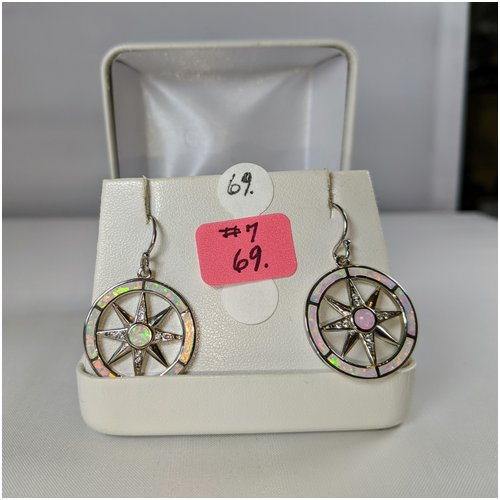 #07 White Opal Compass Rose Earrings