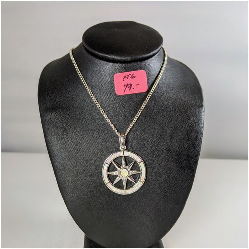 #06 White Opal Compass Rose Necklace