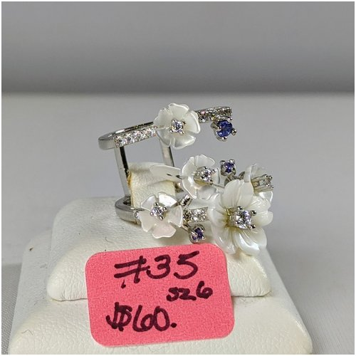 #35 Sterling Shell Ring with CZ