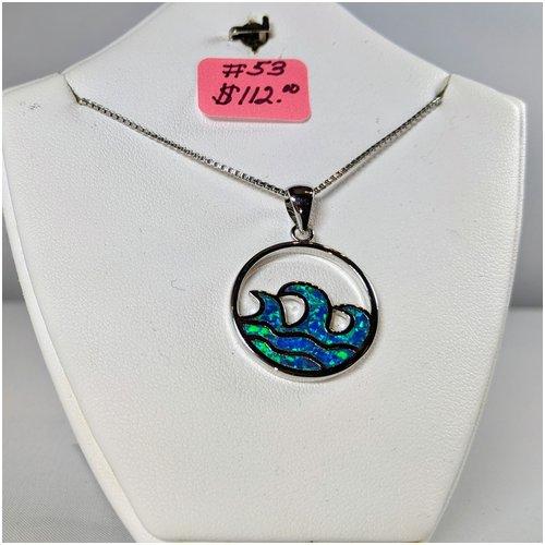#53 Triple Opal Wave Necklace