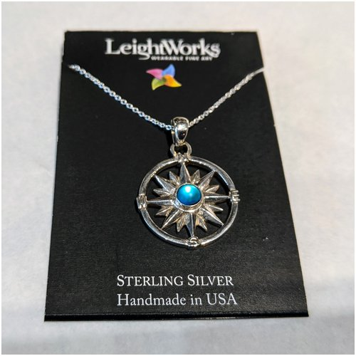 Blue Compass LeightWorks Necklace