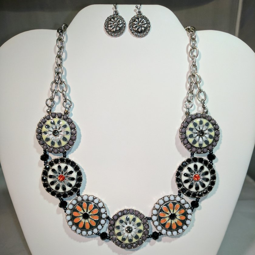 Circle Flower Earrings - Necklace sold separately.